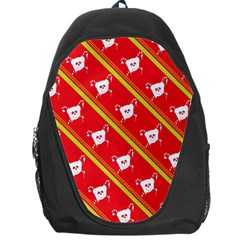 Panda Bear Face Line Red Yellow Backpack Bag by Alisyart