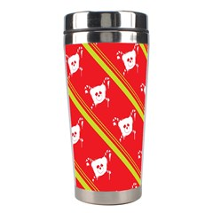 Panda Bear Face Line Red Yellow Stainless Steel Travel Tumblers by Alisyart