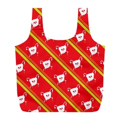 Panda Bear Face Line Red Yellow Full Print Recycle Bags (l)  by Alisyart