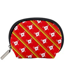 Panda Bear Face Line Red Yellow Accessory Pouches (small)  by Alisyart