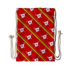 Panda Bear Face Line Red Yellow Drawstring Bag (small) by Alisyart