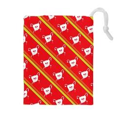 Panda Bear Face Line Red Yellow Drawstring Pouches (extra Large) by Alisyart