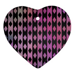 Old Version Plaid Triangle Chevron Wave Line Cplor  Purple Black Pink Ornament (heart) by Alisyart