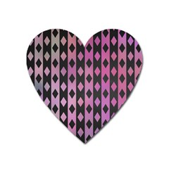 Old Version Plaid Triangle Chevron Wave Line Cplor  Purple Black Pink Heart Magnet by Alisyart
