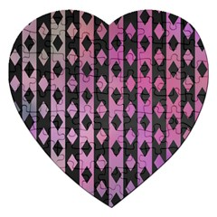 Old Version Plaid Triangle Chevron Wave Line Cplor  Purple Black Pink Jigsaw Puzzle (heart) by Alisyart