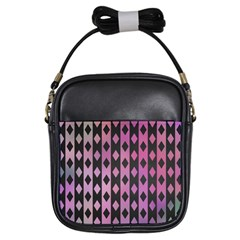 Old Version Plaid Triangle Chevron Wave Line Cplor  Purple Black Pink Girls Sling Bags by Alisyart