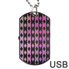 Old Version Plaid Triangle Chevron Wave Line Cplor  Purple Black Pink Dog Tag Usb Flash (one Side) by Alisyart