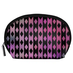 Old Version Plaid Triangle Chevron Wave Line Cplor  Purple Black Pink Accessory Pouches (large)  by Alisyart