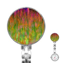 Abstract Trippy Bright Melting Stainless Steel Nurses Watch by Simbadda