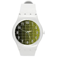 Pixel Gradient Pattern Round Plastic Sport Watch (m) by Simbadda