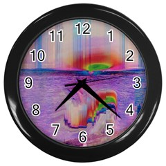 Glitch Art Abstract Wall Clocks (black) by Simbadda