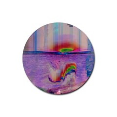 Glitch Art Abstract Rubber Round Coaster (4 Pack)  by Simbadda