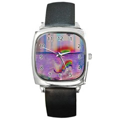 Glitch Art Abstract Square Metal Watch by Simbadda