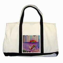 Glitch Art Abstract Two Tone Tote Bag by Simbadda