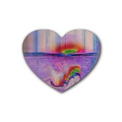 Glitch Art Abstract Heart Coaster (4 Pack)  by Simbadda