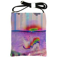 Glitch Art Abstract Shoulder Sling Bags by Simbadda