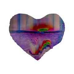 Glitch Art Abstract Standard 16  Premium Flano Heart Shape Cushions by Simbadda