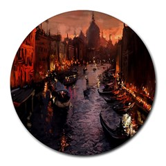 River Venice Gondolas Italy Artwork Painting Round Mousepads by Simbadda