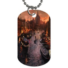 River Venice Gondolas Italy Artwork Painting Dog Tag (two Sides) by Simbadda