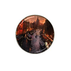 River Venice Gondolas Italy Artwork Painting Hat Clip Ball Marker by Simbadda