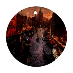 River Venice Gondolas Italy Artwork Painting Round Ornament (two Sides) by Simbadda