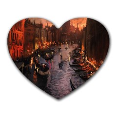 River Venice Gondolas Italy Artwork Painting Heart Mousepads by Simbadda