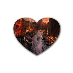 River Venice Gondolas Italy Artwork Painting Rubber Coaster (heart)  by Simbadda