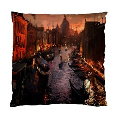 River Venice Gondolas Italy Artwork Painting Standard Cushion Case (two Sides) by Simbadda