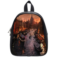 River Venice Gondolas Italy Artwork Painting School Bags (small)  by Simbadda