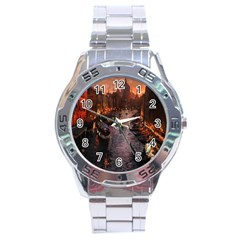 River Venice Gondolas Italy Artwork Painting Stainless Steel Analogue Watch by Simbadda