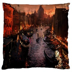 River Venice Gondolas Italy Artwork Painting Large Cushion Case (two Sides) by Simbadda
