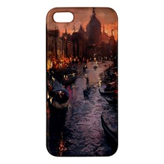 River Venice Gondolas Italy Artwork Painting Apple Iphone 5 Premium Hardshell Case by Simbadda