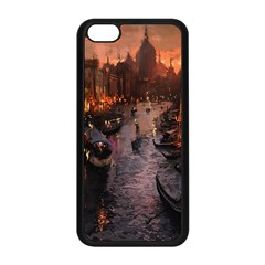 River Venice Gondolas Italy Artwork Painting Apple Iphone 5c Seamless Case (black) by Simbadda