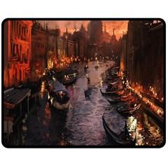 River Venice Gondolas Italy Artwork Painting Double Sided Fleece Blanket (Medium)  by Simbadda