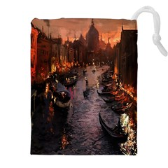 River Venice Gondolas Italy Artwork Painting Drawstring Pouches (xxl) by Simbadda