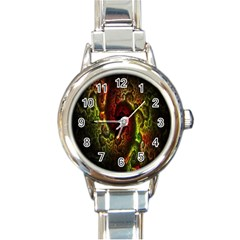 Fractal Digital Art Round Italian Charm Watch by Simbadda