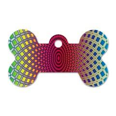 Abstract Circle Colorful Dog Tag Bone (one Side) by Simbadda