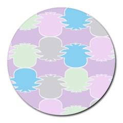 Pineapple Puffle Blue Pink Green Purple Round Mousepads by Alisyart
