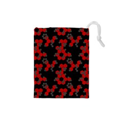 Red Digital Camo Wallpaper Red Camouflage Drawstring Pouches (small)  by Alisyart