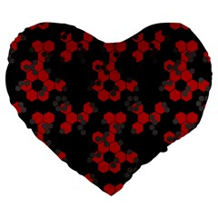 Red Digital Camo Wallpaper Red Camouflage Large 19  Premium Flano Heart Shape Cushions by Alisyart