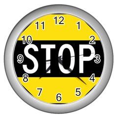 Road Sign Stop Wall Clocks (silver)  by Alisyart