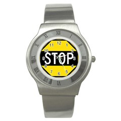 Road Sign Stop Stainless Steel Watch by Alisyart