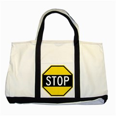 Road Sign Stop Two Tone Tote Bag by Alisyart