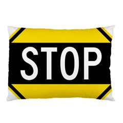 Road Sign Stop Pillow Case by Alisyart