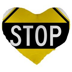 Road Sign Stop Large 19  Premium Heart Shape Cushions by Alisyart