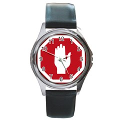 Road Sign Stop Hand Finger Round Metal Watch by Alisyart