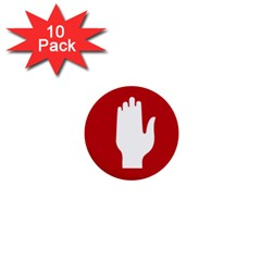 Road Sign Stop Hand Finger 1  Mini Buttons (10 Pack)  by Alisyart