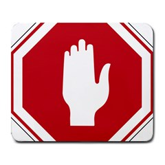 Road Sign Stop Hand Finger Large Mousepads by Alisyart