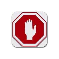 Road Sign Stop Hand Finger Rubber Square Coaster (4 Pack)  by Alisyart