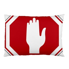 Road Sign Stop Hand Finger Pillow Case by Alisyart
